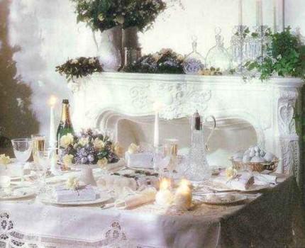 Сервировка стола. Белое Рождество